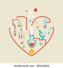 love chemistry infographics scheme vector illustration with flasks, test tubes and beakers