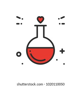 Love chemistry line icon. Test tube love fluid reaction laboratory bottle science romantic love theme. Heart shape. Happy Valentine day sign and symbol.