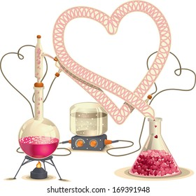 Love Chemistry - Vector Illustration  Vector drawing of a chemistry distillation set with the condenser shaped like a heart.