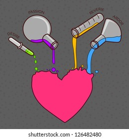 Love chemistry vector line-art illustration as different ingredients pouring out from the test-tubes into the heart