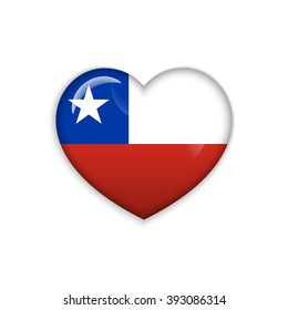 Love Chile symbol. Heart flag icon. Vector illustration.