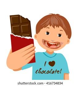 I love chocolate concept-kid boy eating chocolate