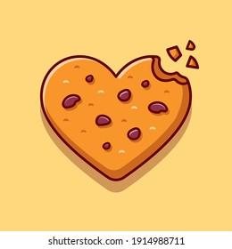 Love Chocolate Cookies Cartoon Vector Icon Illustration. Food Snack Icon Concept Isolated Premium Vector. Flat Cartoon Style