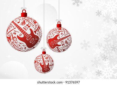 Love Christmas music concept illustration. Music instruments set in red bauble shape background. Vector file available.