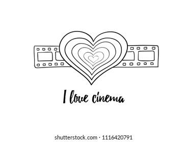 I love cinema - black and white heart on filmstrip