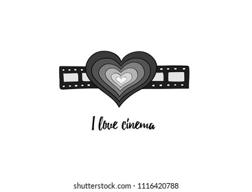I love cinema -  grayscale heart on the filmstrip