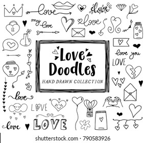 Love clipart doodles, San Valentine's day, hand drawn illustration, hearts
