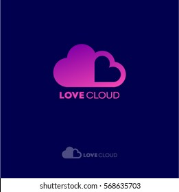 Love Cloud logo. Dating website emblem. Dating chat. Pink hearts as cloud on a dark background.