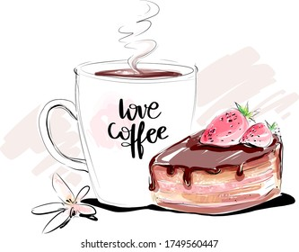 Love coffee cup with chocolate cake and strawberry vector watercolor sketch. Hand drawn morning breakfast background illustration.