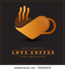 Love Coffee Logo in Coffee Cup Concept. Vector Illustration Eps.10