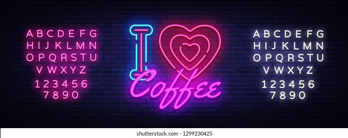 I Love Coffee neon sign vector. Coffee Shop Design template neon sign, light banner, neon signboard, nightly bright advertising, light inscription. Vector illustration. Editing text neon sign
