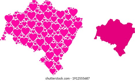 Love collage and solid map of Lower Silesia Province. Collage map of Lower Silesia Province formed with pink love hearts. Vector flat illustration for love conceptual illustrations.