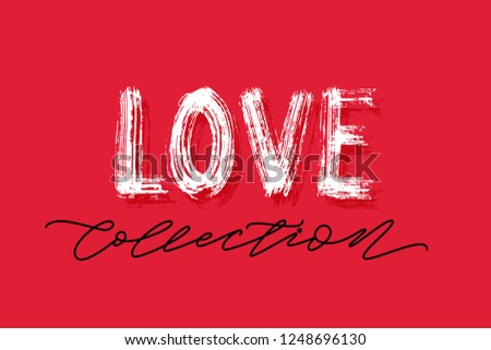 Love Collection Word Hand Drawn Lettering Red Background Love Collections Banner For Shop On