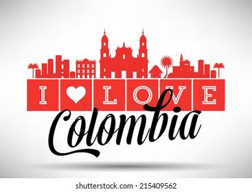 I love Colombia Typography Design