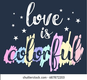 love is colorful slogan for girl print design.