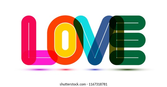 LOVE. Colorful vector typography word lettering for valentine cards, templates and anniversary wishes.
