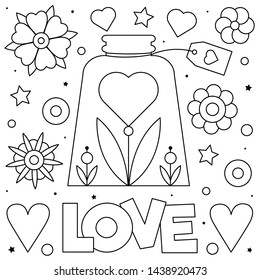 Love. Coloring page. Black and white vector illustration