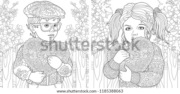 Love Coloring Pages Coloring Book Adults Stock Vector ...