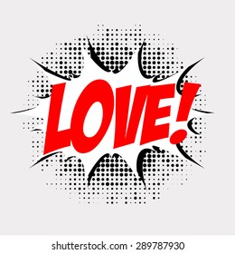 Love!, comic book style, dots, speech bubble