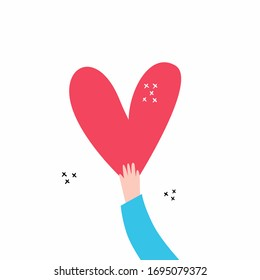 Love and compassion hand drawn vector illustration. Hand holding heart isolated on white background. Valentine day, romantic holiday symbol. Charity work, philanthropy, social aid design element