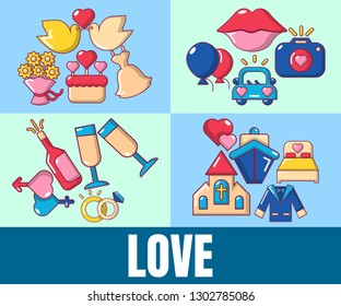 Love concept banner. Cartoon banner of love vector concept for web, giftcard and postcard