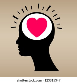 Love concept with human head. Vector illustration