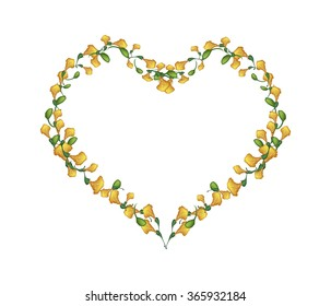 Love Concept, Illustration of Yellow Padauk Flowers or Papilionoideae Flowers Forming in Heart Shape Isolated on White Background.