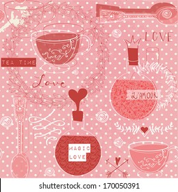 Love concept - pattern with cup of tea, desert spoon, love elixir, flowers and calligraphic. Valentine`s Day and wedding background
