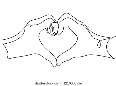 Love concept represented by human hand and heart shape icon-continuous line drawing