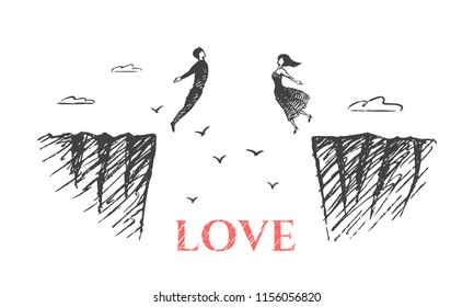 Love - concept sketch. Lovers jump from the cliff towards each other to embrace. Vector hand drawn illustration.