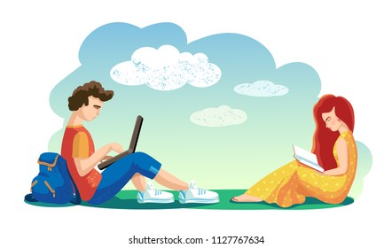 Love concept. Vector illustration. Lovers boy and girl together spend leisure time in open air. Woman reading book. Man working on laptop. Students sitting on grass. Recreation. Couple in love