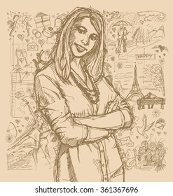 Love concept. Vector Sketch, comics style young business woman with crossed hands , against background with love story elements