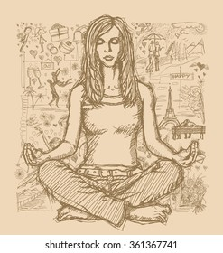 Love concept. Vector Sketch, comics style woman meditation in lotus pose, against background with love story elements
