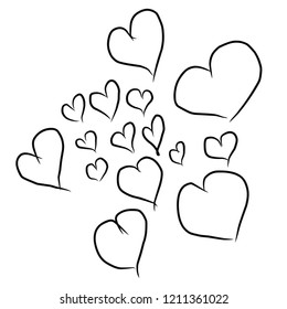 Love concpet.Various hearts sketches isolated on white background. Skeched love hearts.