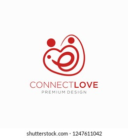 love connect logo, Creative Connect Logo, People and Family Logo Template