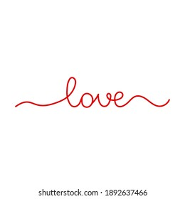 Love. Continuous line drawing. Hand drawn calligraphy lettering. Vector. Line art.