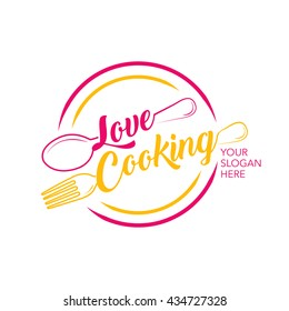 Love cooking logo. silverware cooking. Elements with spoon and fork. Vector color emblem.