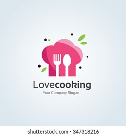Love Cooking Vector Logo Template