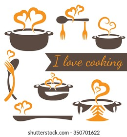 I love cooking vector set of kitchen elements