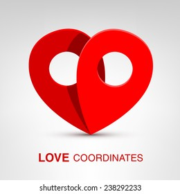 Love coordinates - creative Valentines Day heart concept