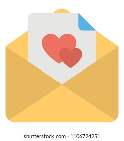 Love correspondence, an opened envelope with hearts sign letter representing love letter to husband or wife