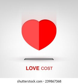 Love Cost - creative Valentines Day heart-shaped coin concept vector illustration