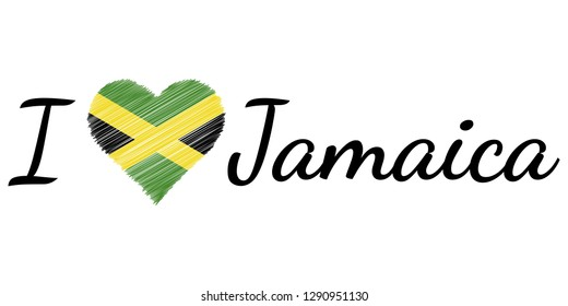 I love country Jamaica. text heart Doodle vector calligraphic text. I love Jamaica flag heart patriot