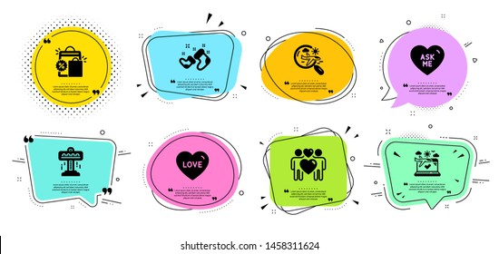 Love couple, Attraction and Santa boots line icons set. Chat bubbles with quotes. Search flight, Shopping bags and Love signs. Airplane travel, Ask me symbols. Lovers, Free fall. Holidays set. Vector