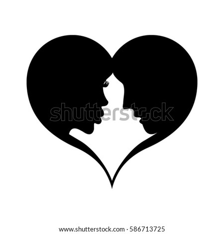 Love Couple Heart Frame Silhouette Isolated Stock Vector (Royalty ...