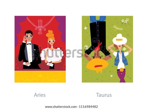 Love Couple Horoscope Aries Taurus Zodiac Stock Vector (Royalty Free