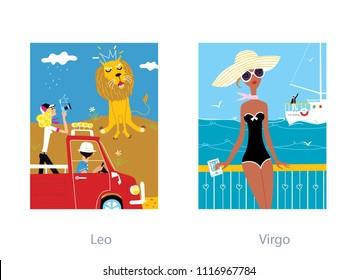 Love couple horoscope. Virgo and leo zodiac signs. Vector illustration.