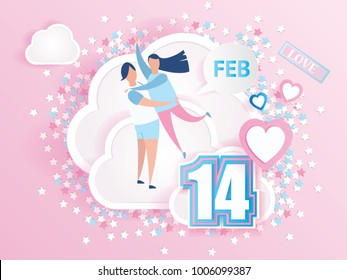 love couple hugging on clouds design for Valentine's day festival with text love and pink heart on abstract love background. Vector illustration.