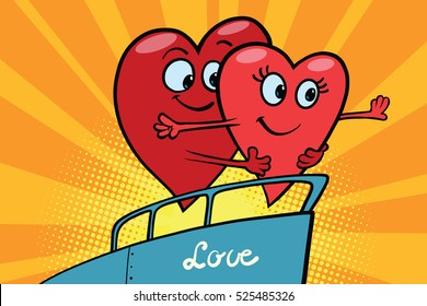 Love couple king of the world scene red hearts Valentines