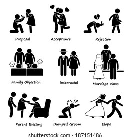 Love Couple Marriage Problem difficulty Stick Figure Pictogram Icon Cliparts